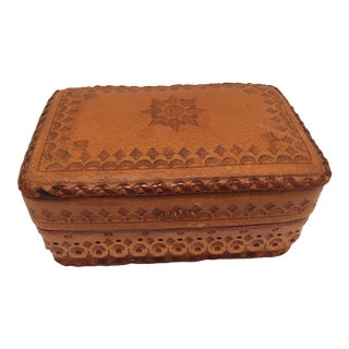Leather Vintage Brown Box Hand Tooled in Morocco With Tribal African Designs For Sale