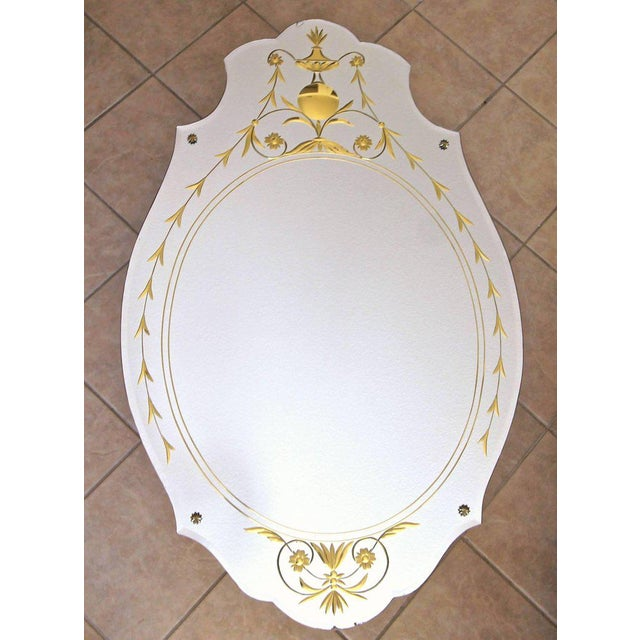 1930s Art Deco Etched Gold Wall Mirror For Sale - Image 4 of 11