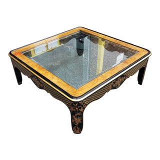 Drexel Heritage Et Cetera Glass Top Asian Chinoiserie Style Coffee Table For Sale