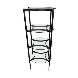 Hand Made Iron and Glass Tiered Étagère For Sale