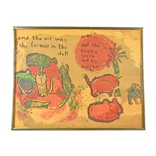 "1960s Framed Art Print ""The Cat Was the Farmer in the Dell"" For Sale"