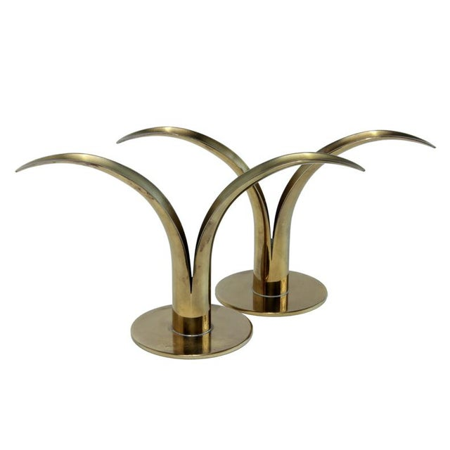 Brass Mid-Century Swedish Brass Candlesticks - A Pair For Sale - Image 7 of 7