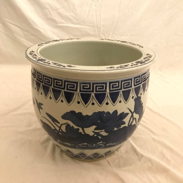 1970s Large Blue and White Floor Planter For Sale - Image 5 of 5