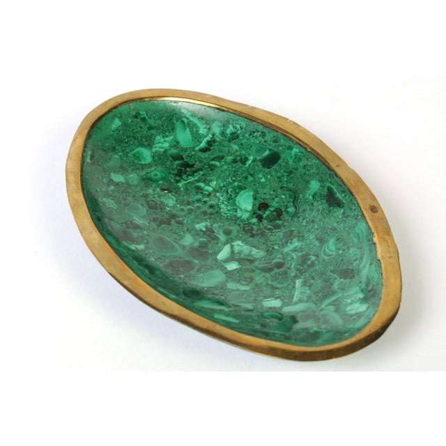 Late 20th Century Malachite and Brass Ashtray or Dish For Sale - Image 5 of 8