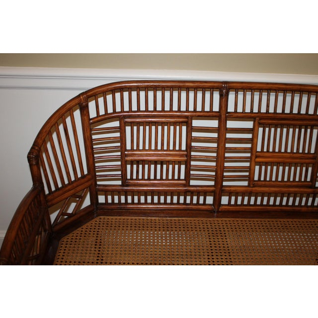Vintage Mid Century Bamboo Rattan Pavilion Brighton Chinoiserie Chippendale Settee For Sale - Image 9 of 13