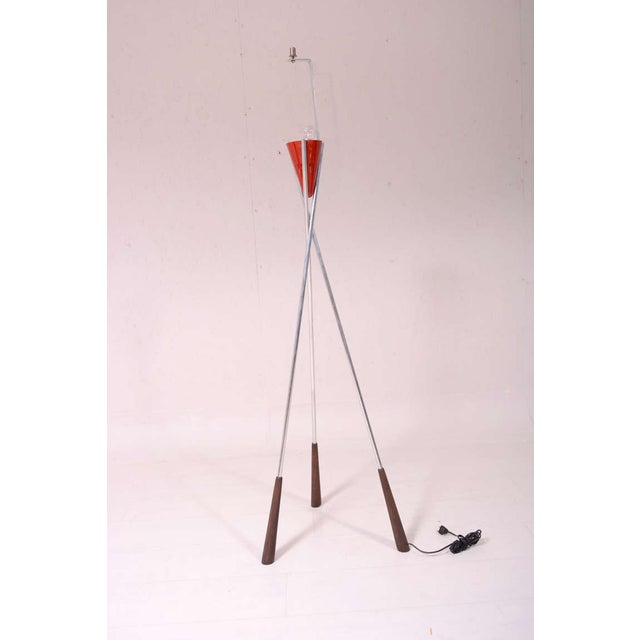 Red Mid-Century Modern Tripod Floor Lamp For Sale - Image 8 of 9