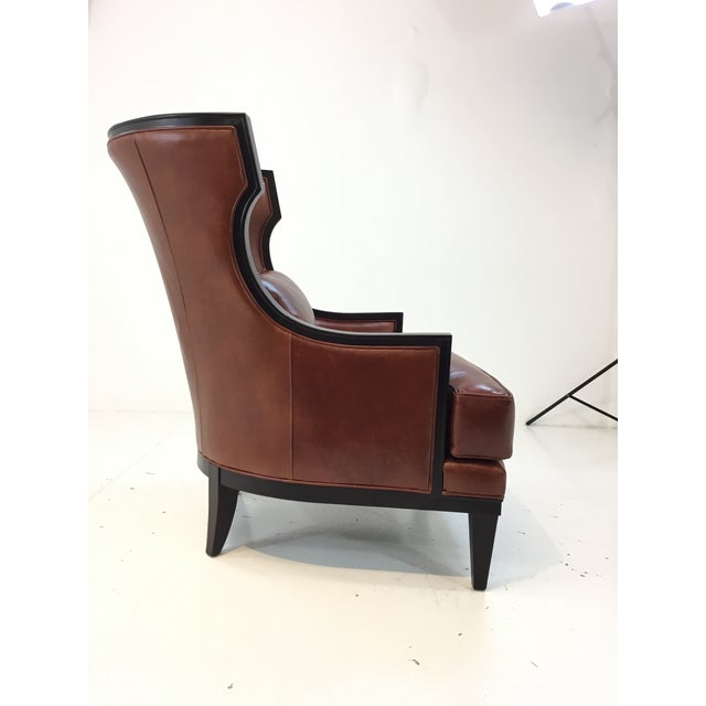 Thomasville Transitional Thomasville Burnt Sienna Leather Capricorn Club Chair For Sale - Image 4 of 6