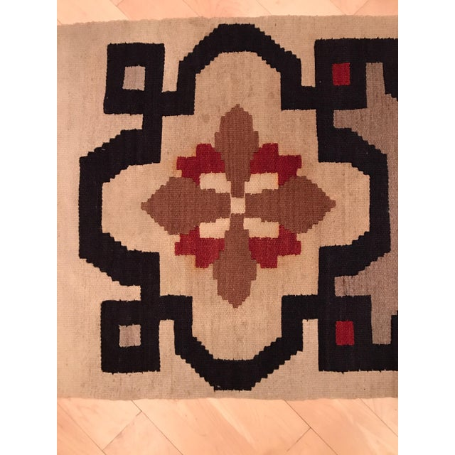 Vintage Woven Kilim Aztec Throw Rug or Wall Hanging - 1′12″ × 4′4″ - Image 7 of 7