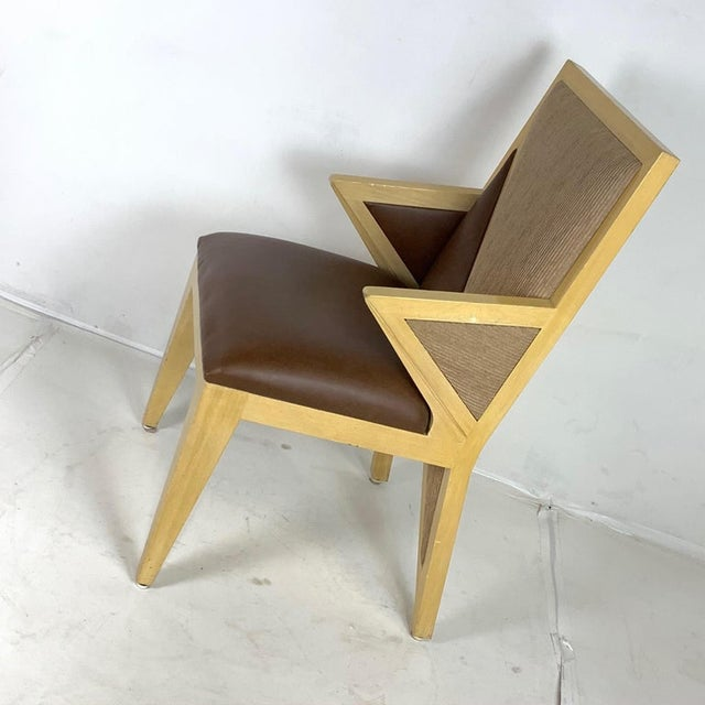 Brown Custom Postmodern Memphis Style Blonde Wood Dining or Occasional Chairs - Set of 10 For Sale - Image 8 of 12