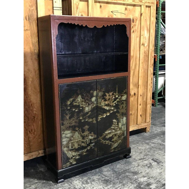 Chinese Ming style lacquered bookcase or cabinet, beautiful subtle decoration fitted with open book case with one upper...