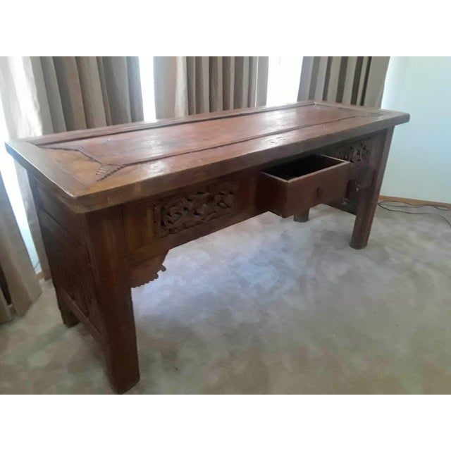 Reclaimed old teak wood with hand carved detailing from West Java Indonesia Very Solid and Very Heavy Single drawer with...