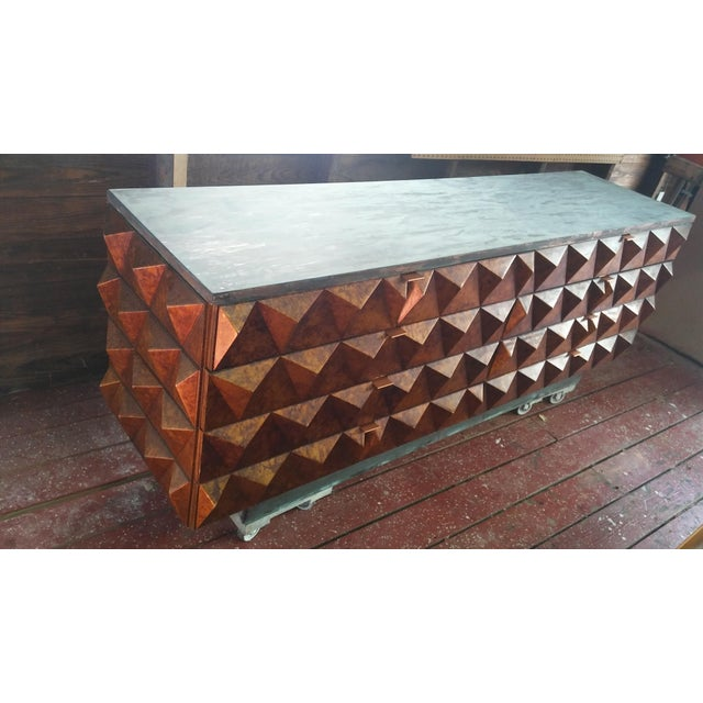 Mid-Century Modern Sculptural Diamond Front Dresser For Sale - Image 3 of 10