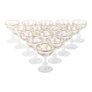 Vintage Set 15 Cut Crystal Champagne Coupes/Martini For Sale