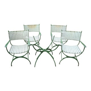 Cast Aluminum Patio Dining Table and 4 Campaign Curule Chairs 1960s For Sale