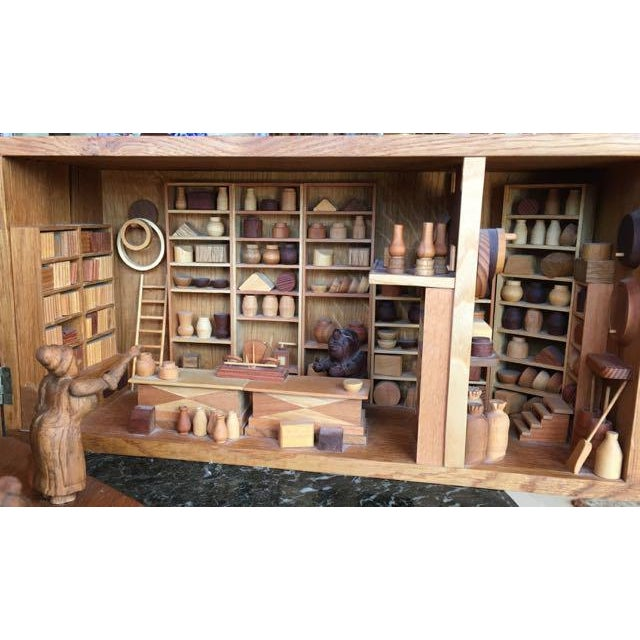 Wood Hand Carved Wood With Marquetry General Store Model Diorama For Sale - Image 7 of 11