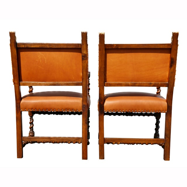 Pair of Italian Baroque Walnut Armchairs For Sale - Image 12 of 13