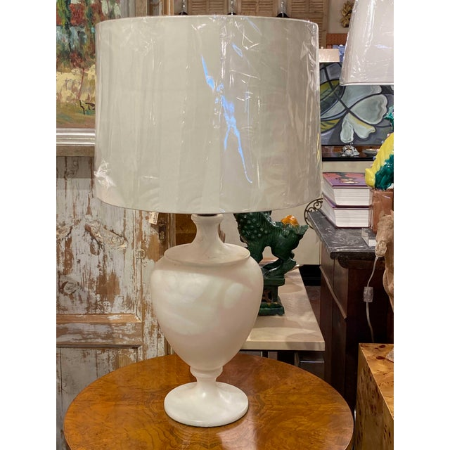 Traditional Mid 20th Century White Marble Urn Shape Lamps With Shades - a Pair For Sale - Image 3 of 6