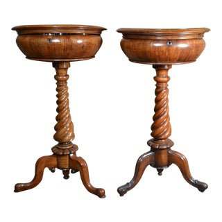 Near Pair of Antique Walnut Victorian Tea Poys circa 1840-1860