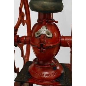 Americana American Victorian red and black painted iron full standing coffee grinder For Sale - Image 3 of 5