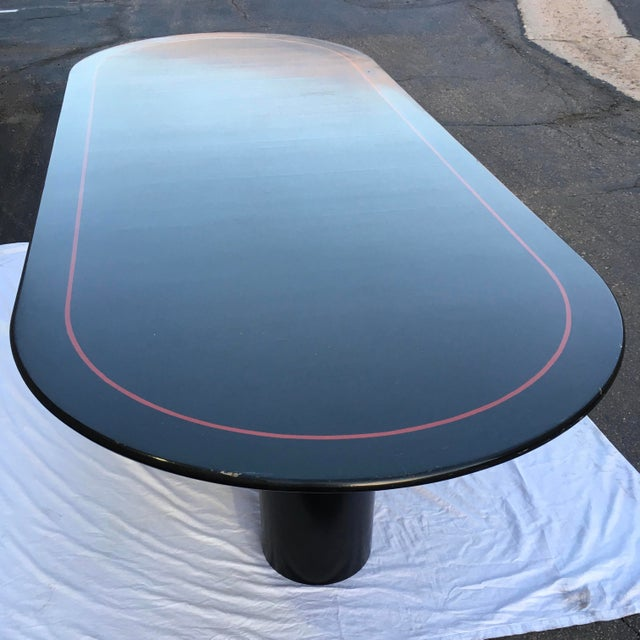 Florence Knoll Mid-Century Modern Black Lacquered 10' Elliptical Dining Conference Table For Sale - Image 4 of 13