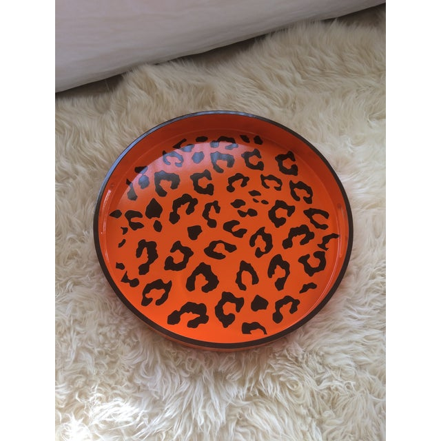 Plastic Round Hermès Inspired Orange & Brown Leopard Tray For Sale - Image 7 of 9