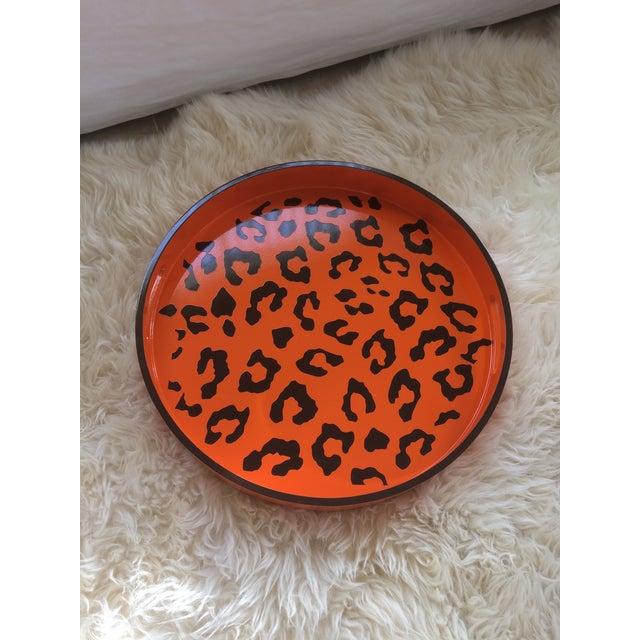 Round Hermès Inspired Orange & Brown Leopard Tray - Image 7 of 9