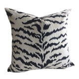 """Image of Scalamandre """"Le Tigre"""" Pillows in Winter White & Black Velvet - a Pair For Sale"""