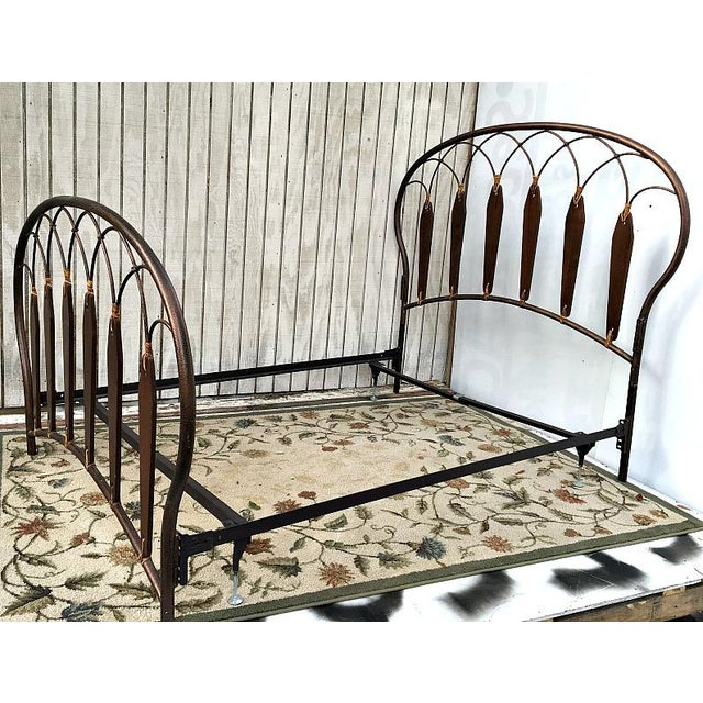 Native American Inspired Metal Wood Leather Full Bed - Image 3 of 10