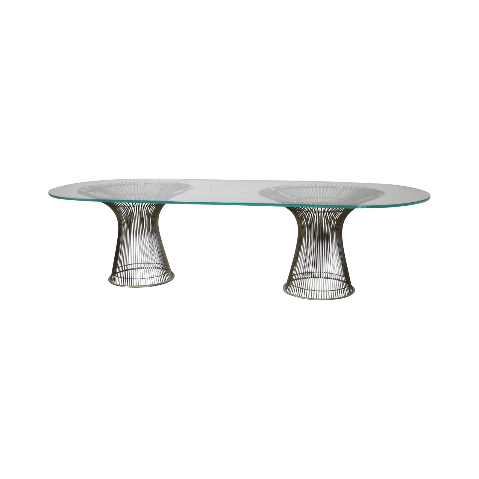 Warren Platner Style Double Pedestal Chrome Base Glass Top Dining