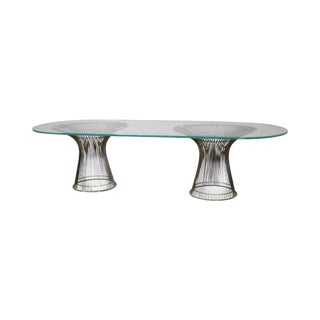 Warren Platner Style Double Pedestal Chrome Base Glass Top Dining Table
