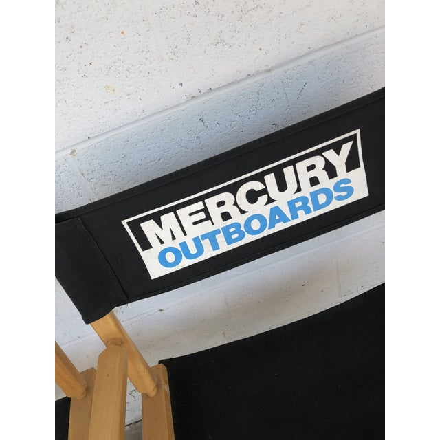 Vintage Wood Folding Director Chairs With Mercury Outboard Advertising - a Pair For Sale - Image 4 of 13