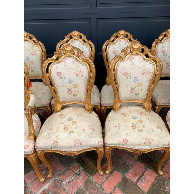 Mid 19th Century Antique Gold Leaf Painted Louis XIV Style Chairs - Set of 8 For Sale - Image 5 of 12