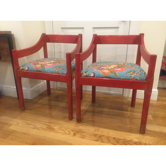 1960s Vintage Red Carimate Chairs by Vico Magistretti for Cassina- A Pair For Sale - Image 11 of 11