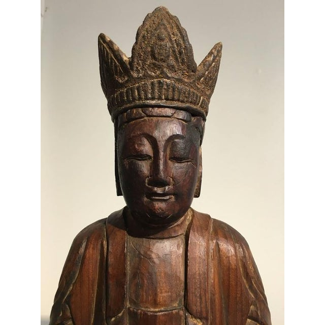 Brown Chinese Ming Dynasty Carved Wooden Bodhisattva For Sale - Image 8 of 10