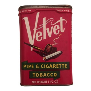 Vintage Velvet Tobacco Pipe and Cigarette Tin For Sale