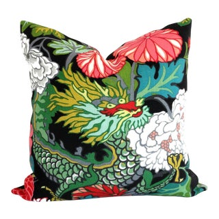 "20"" x 20"" Ebony Schumacher Chiang Mai Dragon Decorative Pillow Cover For Sale"