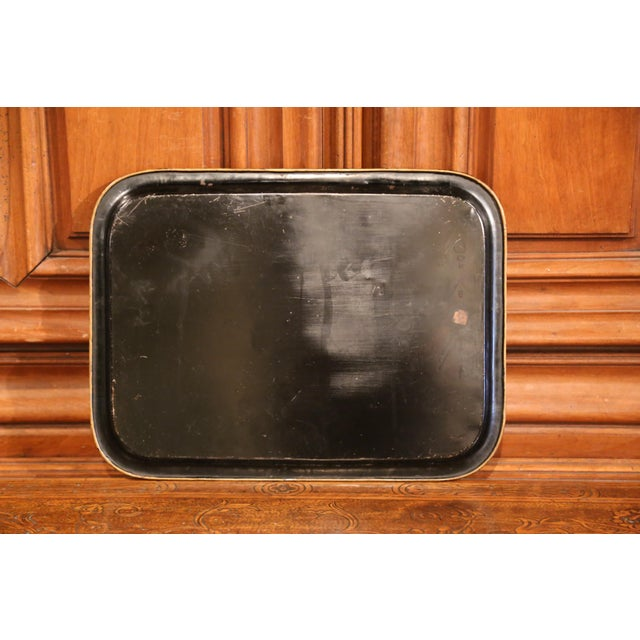 19th Century French Napoleon III Black and Gilt Tole Tray With Pastoral Scene For Sale In Dallas - Image 6 of 7