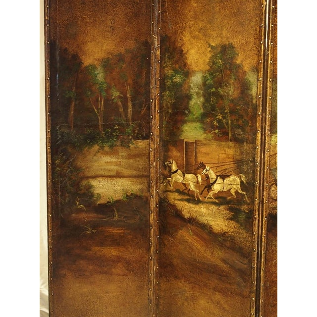 Antique Painted English Four Panel Leather Screen, 19th Century For Sale - Image 10 of 13