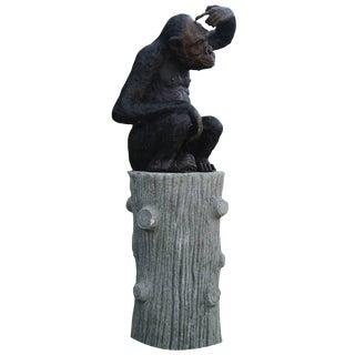 20th Century Bronze Monkey Garden Statue For Sale