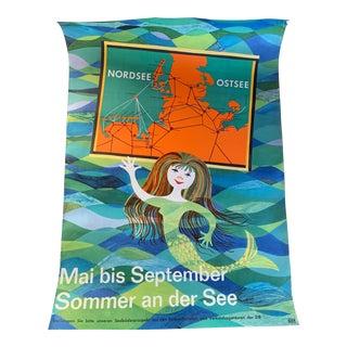 1950s Vintage Mermaid Travel Poster For Sale