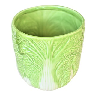Vintage Cabbage Leaf Cachepot For Sale