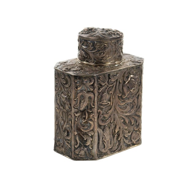 19th Century Antique Silver Repousse Tea Caddy For Sale In Los Angeles - Image 6 of 9