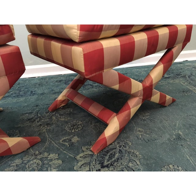 Hollywood Regency Upholstered X Benches - A Pair - Image 3 of 6