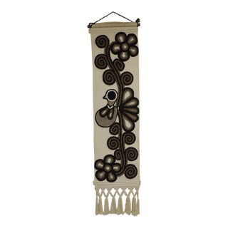 Vintage Boho-Chic Fiber Art Wall Hanging With Fringes in Black and Brown For Sale