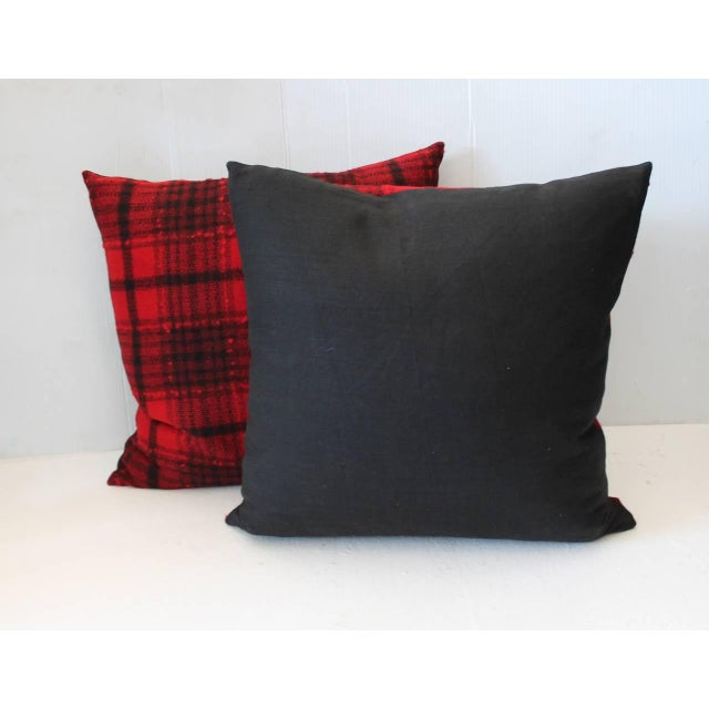 Rustic Pair of Red and Black Plaid Pendleton Blanket Pillows For Sale - Image 3 of 5