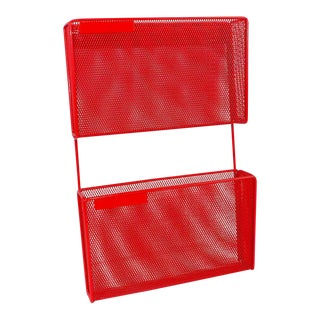 Vintage Red Metal Wall Mounted Organizer Mail Sorter Letter Holder
