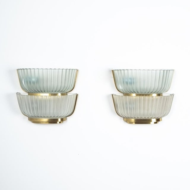 Pair of Late Art Deco Glass and Brass Sconces Refurbished, Italy, Circa 1940 For Sale - Image 12 of 12
