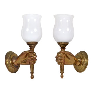 André Arbus Bronze Hand Sconces Opaline Glass Globes French Provincial - Pair For Sale