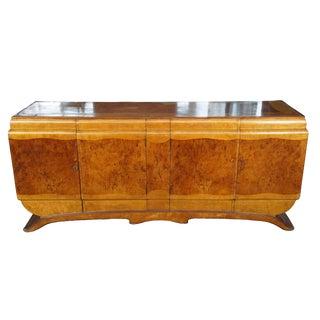 Early 20th Century Antique English Art Deco Walnut Dry Liquor Bar Cabinet For Sale