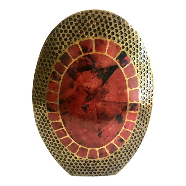 Vintage R & Y Augousti Ovoid Vase in Solid Bronze and Exotic Mosaic Pen-Shell For Sale